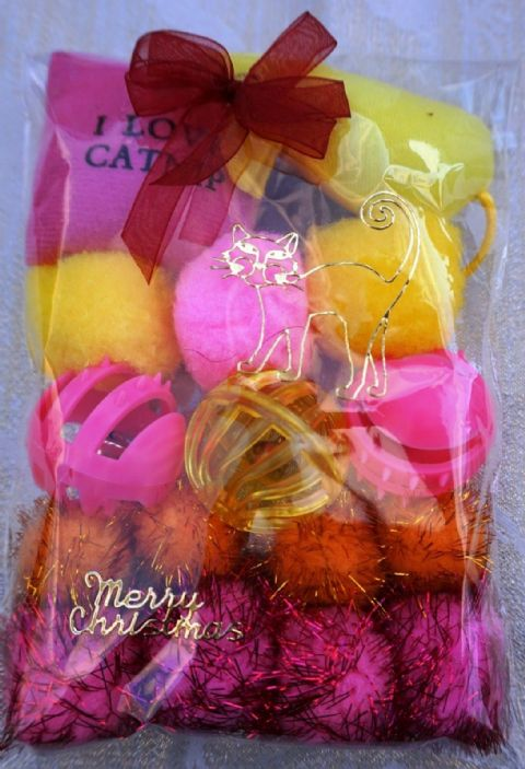 CHRISTMAS CAT TOY PACK - HAND DECORATED AND FILLED WITH 16 ASSORTED CAT TOYS #1